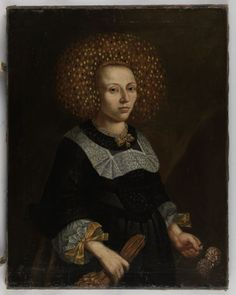 Portrait of a woman wearing a Flinderhaube, unknown artist, oil on canvas, date given as either c. 1640 or c. 1670 (my money is on c. 1670), Germany.