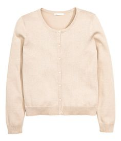 Fine-knit cotton cardigan with long sleeves. Rounded neckline, buttons at front, and ribbing at cuffs and hem.