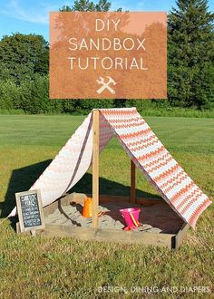 Believe it or not, you can actually create your own sandbox at home with this DIY sandbox tutorial! It takes a little bit of handiwork, but this cute mini outdoor playground looks so worth it.
