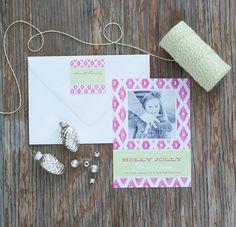 Printable Christmas ikat pink lime Photo holiday card