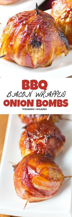 BBQ Bacon Wrapped Onion Bombs by Noshing With The Nolands are a must make! So much flavor these will blow you away! day dinner bbq BBQ Bacon Wrapped Onion Bombs are delectable right out of the oven! Onion Recipes, Meat Recipes, Appetizer Recipes, Cooking Recipes, Bbq Appetizers, Game Recipes, Bacon Wrapped Onion Bombs, Onion Bombs In Oven, Bbq Onion Meatball Bombs