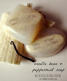 Easy DIY Melt and Pour Vanilla Bean and Peppermint Loofah Soap
