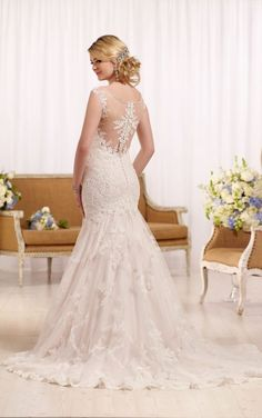 D2162 Fit and flare wedding dress with cap sleeves by Essense of Australia