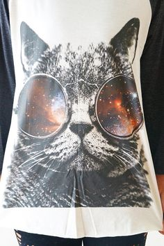 S M L GALAXY CAT Glasses TShirts Cat TShirts von cottonclick