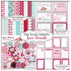 Save 40% Love Bundle Scrapbook Kit and  by DigiScrapDelights Project Life Pocket Journal Cards, digital Scrapbook Kit, #pink #blue scrapbook papers