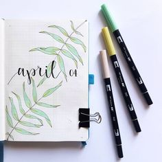 Bullet journal monthly cover page, April cover page, plant drawings. | @bujoonthemoon
