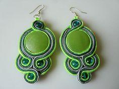 Soutache/sutasz/braccialli earrings  green and grey