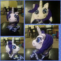 This is a pony hat that was inspired by Rarity from My Little Pony and requires crocheting several pieces and sewing them onto the hat. Some pieces are also stuffed. I used white yarn scraps to stuff mine because I like it better. I would not suggest this pattern for beginners.