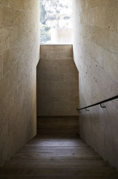 Wallington House | Clare Cousins Architects, wood stairs, stone walls, simplicity, corridor