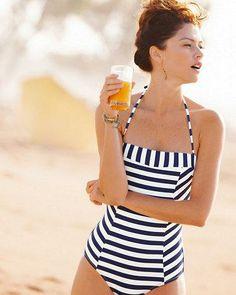 OndadeMar Striped Cayenne Bandeau Swimsuit