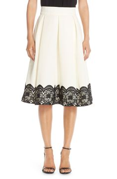 lace & faille midi skirt