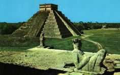 How Chichen Itza used to look... different? And actually maybe not so different! From a vintage postcard found on eBay...