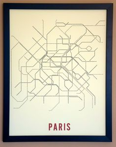 Paris Typographic Transit Map Poster by fadeoutdesign on Etsy, $25.00