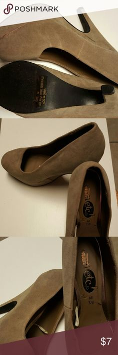 Rue 21 wedges Tan suede platform heels, great with jeans. Never worn just stuff in closet, so please rescue these shoes. Shoes Platforms