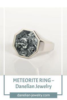 METEORITE RING Meteorite Ring, Amazing Gifts, Signet Ring, Silver Man, Jewelries, Band Rings, Invite, Amethyst, Rings For Men