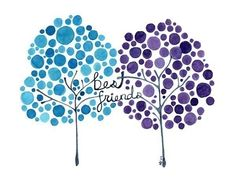 Watercolor Tree Artwork Best Friends Print of Painting Friends Forever Wall Art. $15.50, via Etsy.
