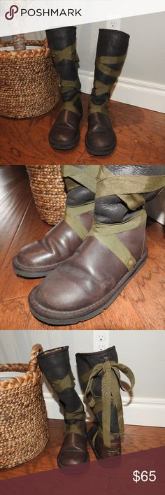 UGG Australia Rina Brown With Ribbon Boots Size 6 Barely used and in excellent condition. Just have no need for it after moving to Oklahoma. Dark brown leather with olive green ribbon.  Salt stains on the UGG branding plate and maybe on the tips of the ribbons as well.  Luxurious suedes and rich leathers lined with sheepskin Twin face sheepskin Insoles are genuine sheepskin sock that wicks away moisture and keeps feet warm and dry. Outsoles are EVA with molded rubber pod inserts that provide…