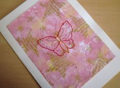 Butterfly Card Hand Stitched Card Birthday Card Note by KezylouToo, £3.00