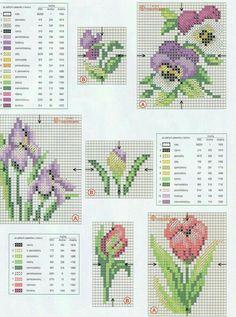 little flowers -- iris, pansy, tulip Small Cross Stitch, Cross Stitch Cards, Cross Stitch Flowers, Cross Stitch Designs, Cross Stitching, Cross Stitch Embroidery, Embroidery Patterns, Cross Stitch Patterns, Easter Cross