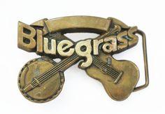 Solid Brass Vintage Bluegrass Belt Buckle. $40.00, via Etsy.