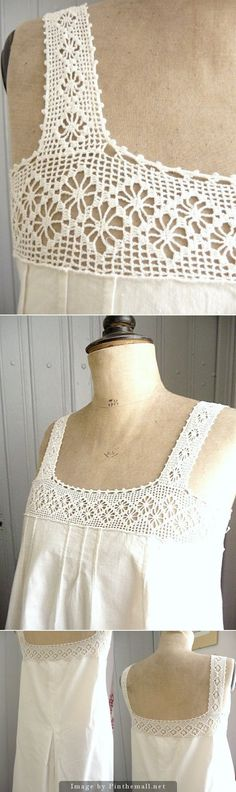 chemise: spider lace crochet yoke by krystal Col Crochet, Crochet Collar, Crochet Blouse, Filet Crochet, Crochet Shawl, Crochet Stitches, Crochet Patterns, Crochet Crafts, Crochet Projects