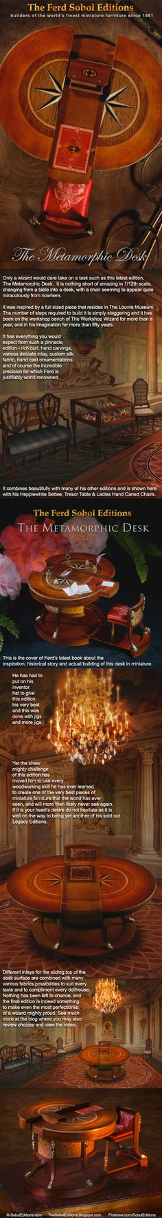 The Metamorphic Desk is the latest piece from the Ferd Sobol Editions and may be reviewed in a recent article in Dollhouse Miniatures magazine where you will see that it was first commissioned in 1805 by The Grand Duchess of Tuscany, Elisa Bonaparte, the sister of Napoleon: http://thesoboleditions.blogspot.com/2017/04/metamorphic-desk-article-in-dollhouse.html You may also view a video of it transforming at: https://www.youtube.com/watch?v=ZH1K0LdPqxQ&feature=youtu.be SobolEditions.com