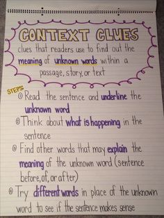 Context clues anchor chart                                                                                                                                                     More