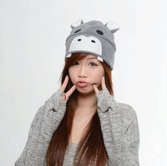Gray Hippo Ear Hat  Hippo Hat  Grey Hippo Hat  Hippo by QWear01