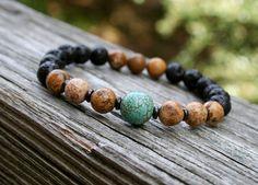 Items similar to Black Lava / Picture Jasper / Turquoise / Yoga Bracelet / Mala Bracelet / Stackable Bracelets on Etsy Handmade Jewelry, Unique Jewelry, Handmade Gifts, Yoga Mala, Essential Oil Jewelry, Aromatherapy Jewelry, Pearl Design, Yoga Bracelet, Lava
