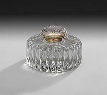 American Silver-Mounted Molded Glass Inkwell