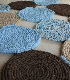 rag rug in mod blue and chocolate 48x36 by thechameleonsattic 9900
