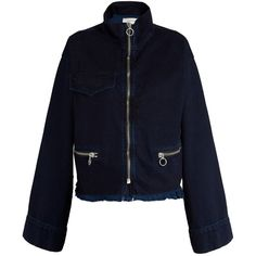 Marques'Almeida Frayed-hem bell-sleeved denim jacket ($497) ❤ liked on Polyvore featuring outerwear, jackets, zipper jacket, bell sleeve jacket, blue jackets, blue jean jacket and blue denim jacket