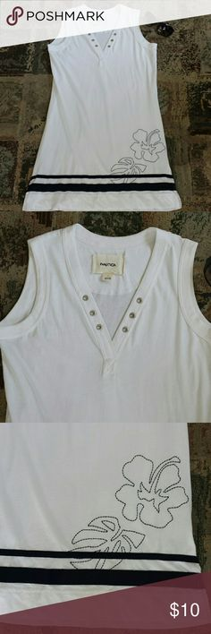 """Nautica dress L Nautica white 100% cotton dress/cover-up. With Navy accents and silver hardware. Great condition  33"""" from middle neck to hem line. 3"""" side slits. Fits a medium very comfy. Nautica Dresses Midi"""
