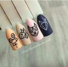 Nail Art Water Transfer Sticker Hollow Tattoo Decals Geometry Flamingo Dog Slider Adhesive Decoration Manicure Brand New and High Quality nail art water transfer stickers Easy to apply on Natuarl or Artificial Nails Size Package Content. Animal Nail Designs, Animal Nail Art, Nail Art Designs, Animal Design, Minimalist Nails, Nail Swag, Trendy Nails, Cute Nails, Picasso Nails