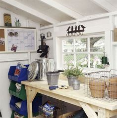 Storage Secrets for Your Garden Shed Add a Potting Bench Tidy up your shed and look for room for a potting bench. That way you can plant or repot your favorite container plants even when it's raining. And it keeps your bags of potting mix dry. Shed Organization, Shed Storage, Storage Ideas, Storage Bins, Plastic Storage, Plastic Bins, Tool Storage, Organizing Ideas, Storage Containers