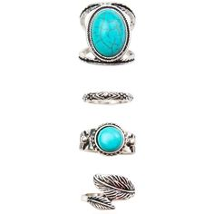 Under The Sun Turquoise Ring Set ($12) ❤ liked on Polyvore featuring jewelry, rings, blue turquoise jewelry, turquoise jewelry, turquoise jewellery, engraved rings and turquoise rings