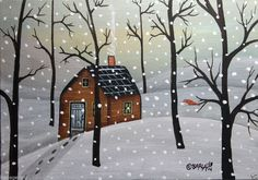 Snowy Eve 5x7 inch Canvas Panel ORIG PAINTING PRIM FOLK ART ABSTRACT Karla G.