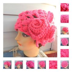 Crochet Beret Hat Crochet Hat Womens Hat Womens Crochet Hat Crochet Shell Stitch Crochet Flower Watermelon Pink Hat Karen Beret Hat by strawberrycoutureBuy it on Etsy Crochet Beret Pattern, Crochet Hat With Brim, Crochet Hat For Women, Crochet Woman, Crochet Patterns, Crochet Hats, Hat Patterns, Form Crochet, Crochet Tutorials
