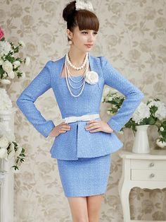 Morpheus Boutique  - Blue Knit Long Sleeve Trendy Pleated Suit Dress, $99.99 (http://www.morpheusboutique.com/blue-knit-long-sleeve-trendy-pleated-suit-dress/)