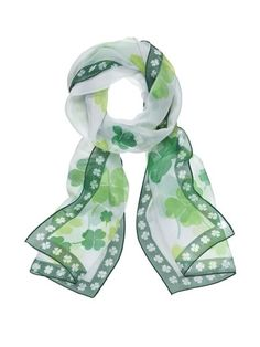 Everyone is Irish on St. Patrick's Day! Add a classy touch at work with this beautiful shamrock scarf.