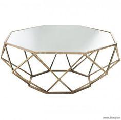J-Line Salontafel geometrisch metaal-spiegel goud ø90
