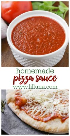 Homemade Pizza Sauce Recipe - Better than any Store Bought Sauce! Lil' Luna No pizza is complete without the perfect red sauce. Try making your own with this delicious and simple homemade pizza sauce recipe that tastes better than any store bought sauce! Pizza Recipes, Sauce Recipes, Dinner Recipes, Cooking Recipes, Healthy Recipes, Shrimp Recipes, Cooking Tips, Easy Homemade Pizza, Homemade Sauce