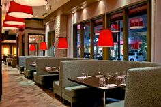 Haven Restaurant Edgewater, NJ Designed by Dallago Associates, Inc. www.dallagodesign.com  Acoustical wrapped ceiling - pendants - booth dining - gorgeous lighting
