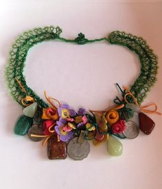 Green Tatting Lace Necklace with Crocheted Flower Laces by Tomyres, $80.00