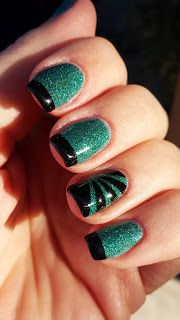 """Finger Paints """"Art You Wondering"""" Teal Glitter with Black French Tips and Black sunburst striping on accent nail. DON'T FORGET to follow my blog to see all my manicure designs!  thelacqueredmanicuredmom.blogspot.com"""