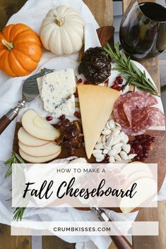 Making a cheeseboard for the Fall can be accomplished by adding seasonal fruits, festive add-ons like Pumpkin seeds, and pairing with Fall wines! Fig Butter, French Cheese, Toasted Pumpkin Seeds, Types Of Cheese, Fall Fruits, Salty Snacks, Mini Pumpkins, Pomegranate Seeds, Fruit In Season