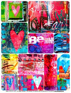 Free Happy Love Day Art Journaling Printable by Traci Bautista {store checkout required} #artjournaling #collage