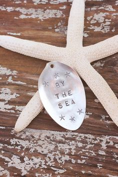 Vintage by the sea starfish ornament gift tag recycled silver plated silverware by beachhouseliving on etsy