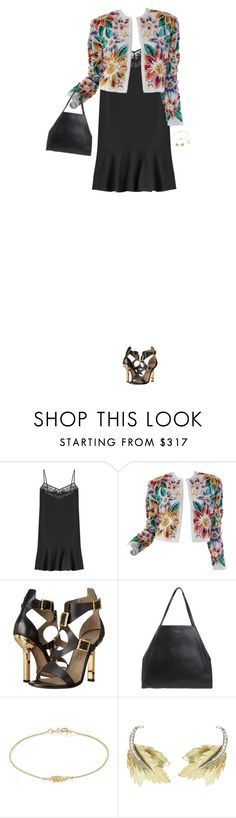 """""""How to Style a Floral Cardigan with a Black Lace Slipdress"""" by outfitsfortravel ❤ liked on Polyvore featuring Carven, Naeem Khan, Versace, Smythson, Jennifer Meyer Jewelry and Sydney Evan"""