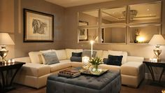 Sectional sofa and comfy ottoman in neutrals
